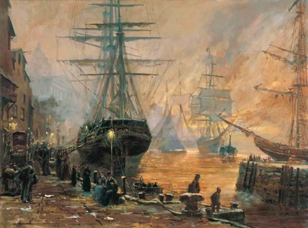 painting of ships in a harbor