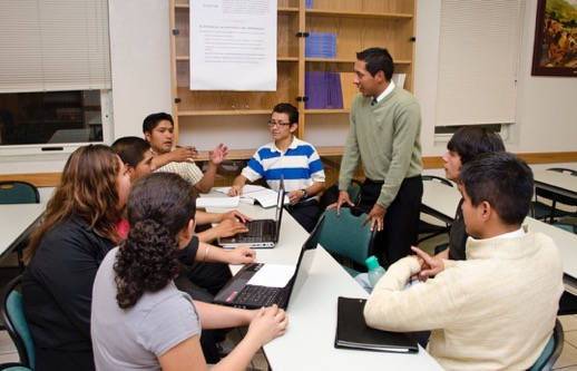 students having discussion in a classroom